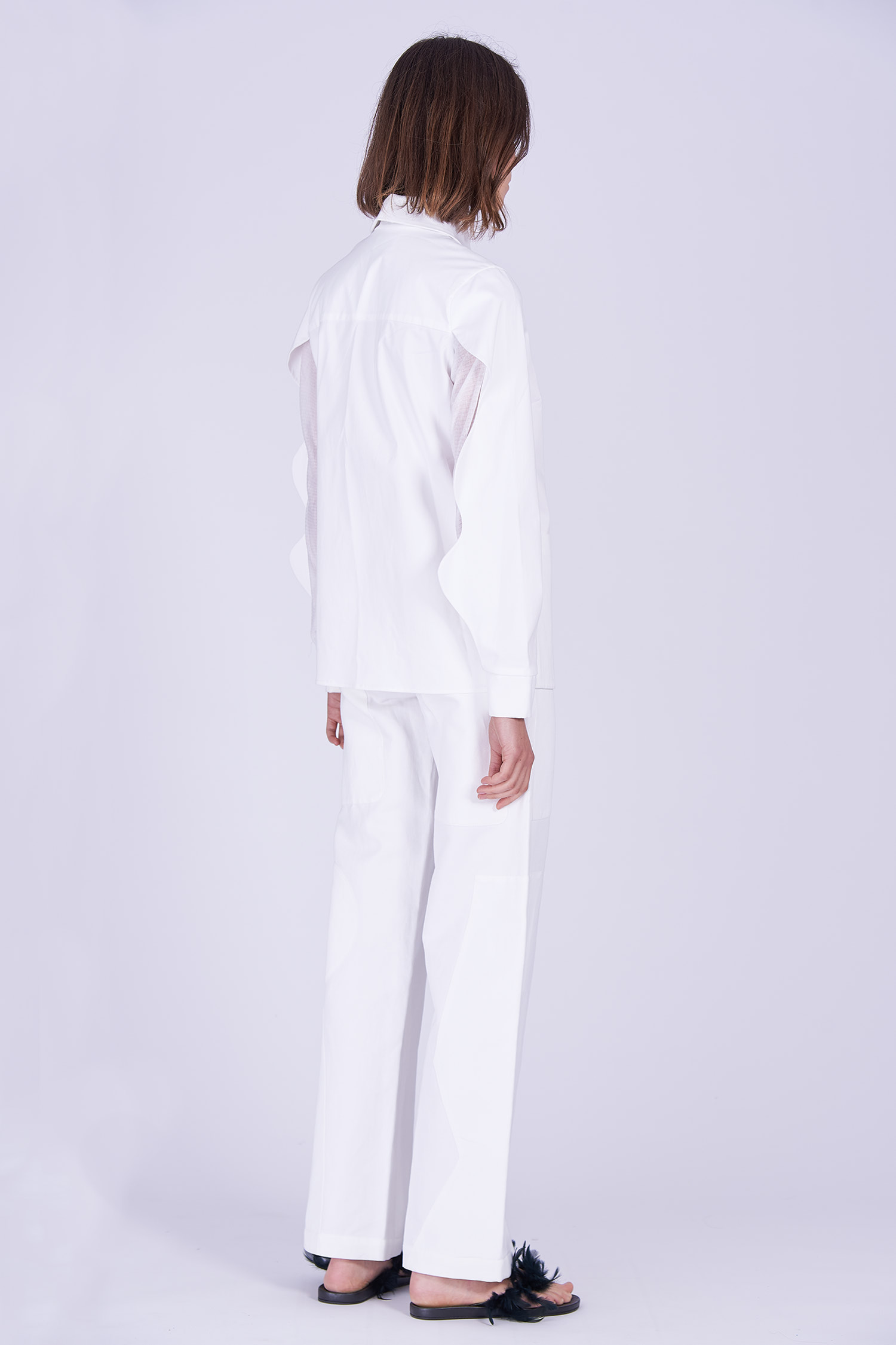 Acephala Ps2020 White Shirt White Trousers Side Back 2