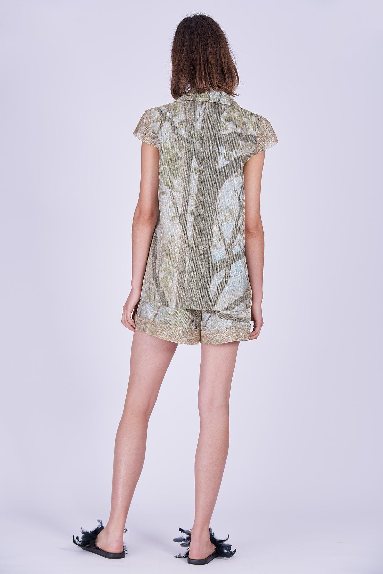 Acephala Ss2020 Gold Jacket Print Shorts Zlota Marynarka Szorty Back