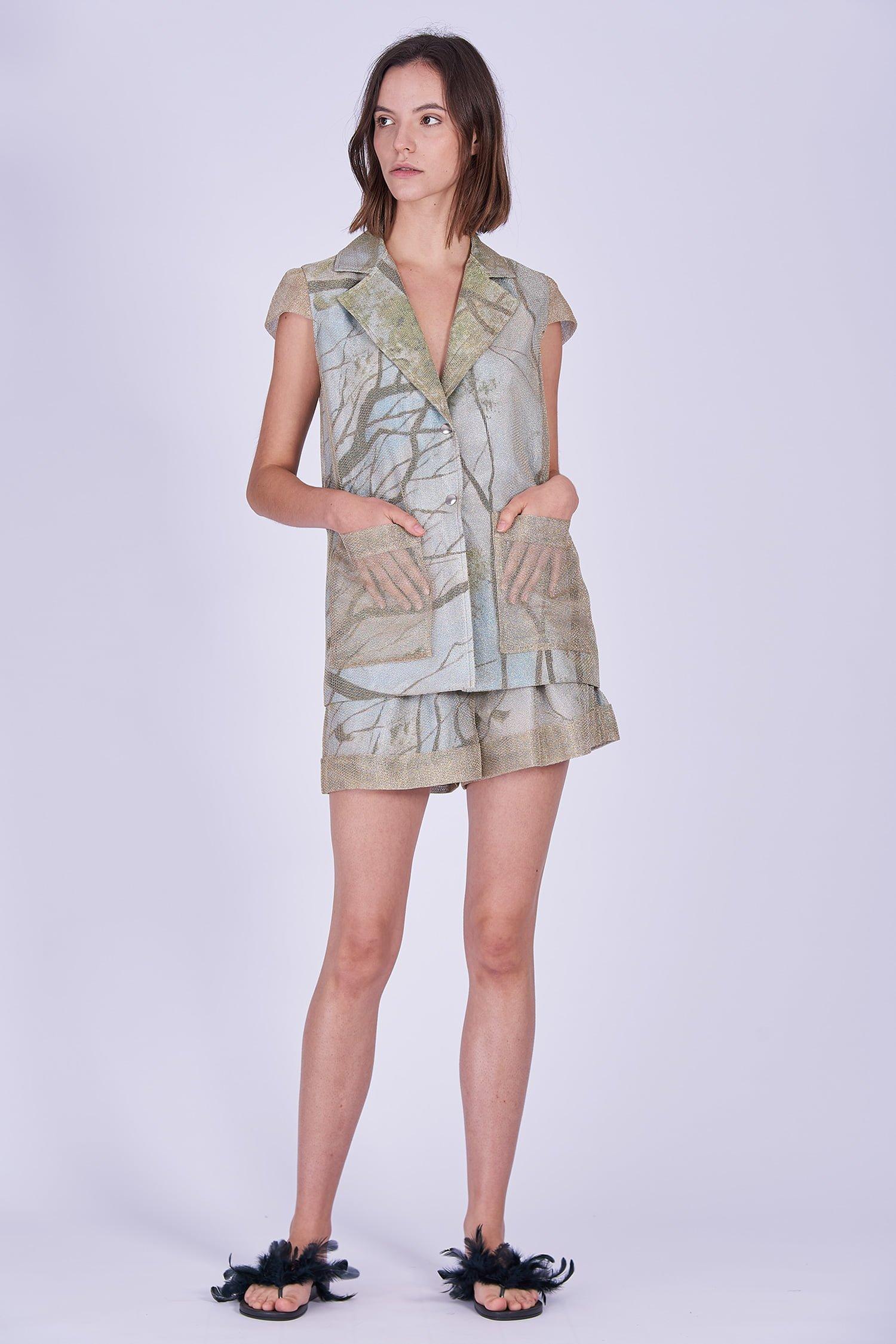 Acephala Ss2020 Gold Jacket Print Shorts Zlota Marynarka Szorty Front 2
