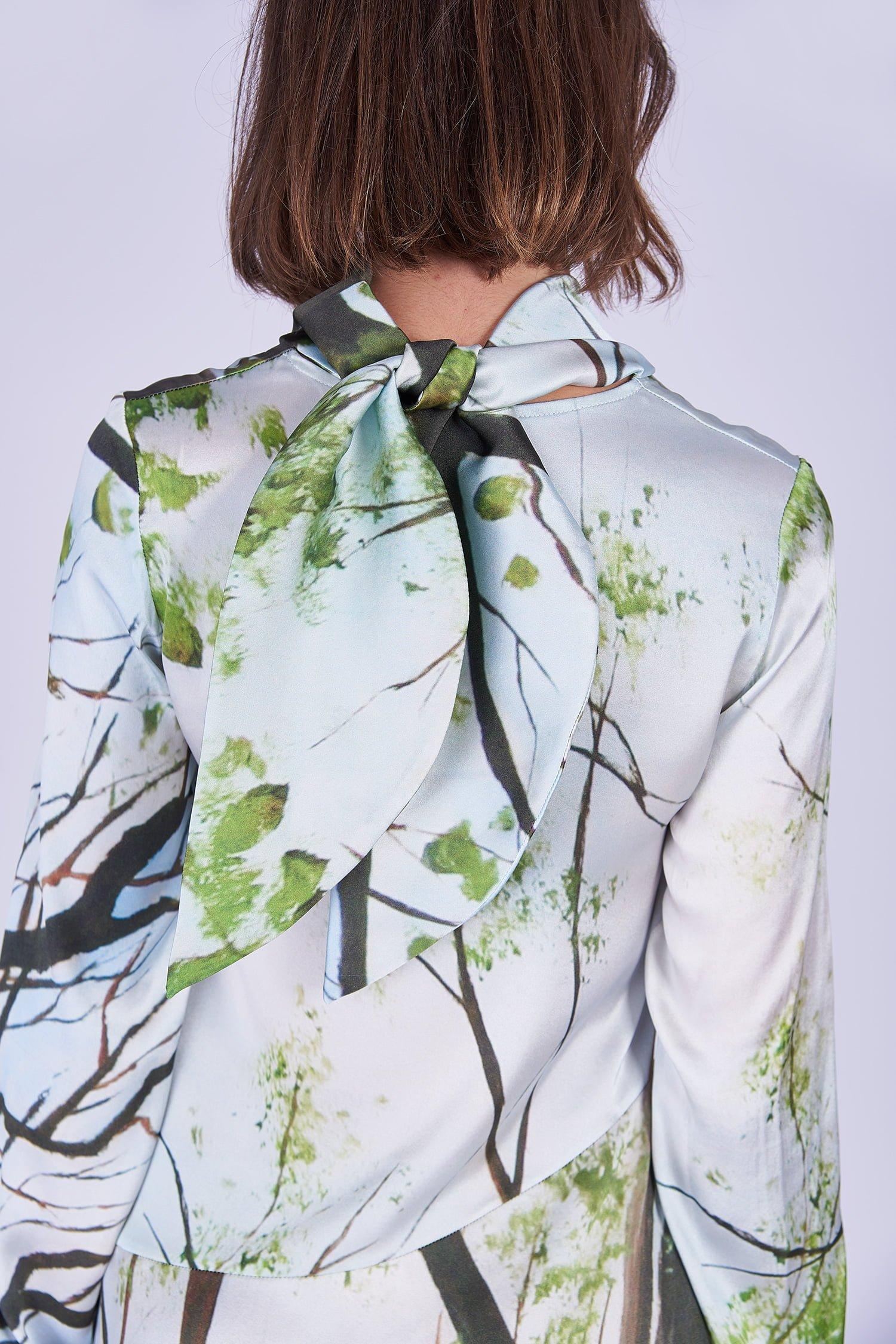 Acephala Ss2020 Printed Silk Longsleeve Dress Jedwabna Sukienka Print Rekaw Detail Back