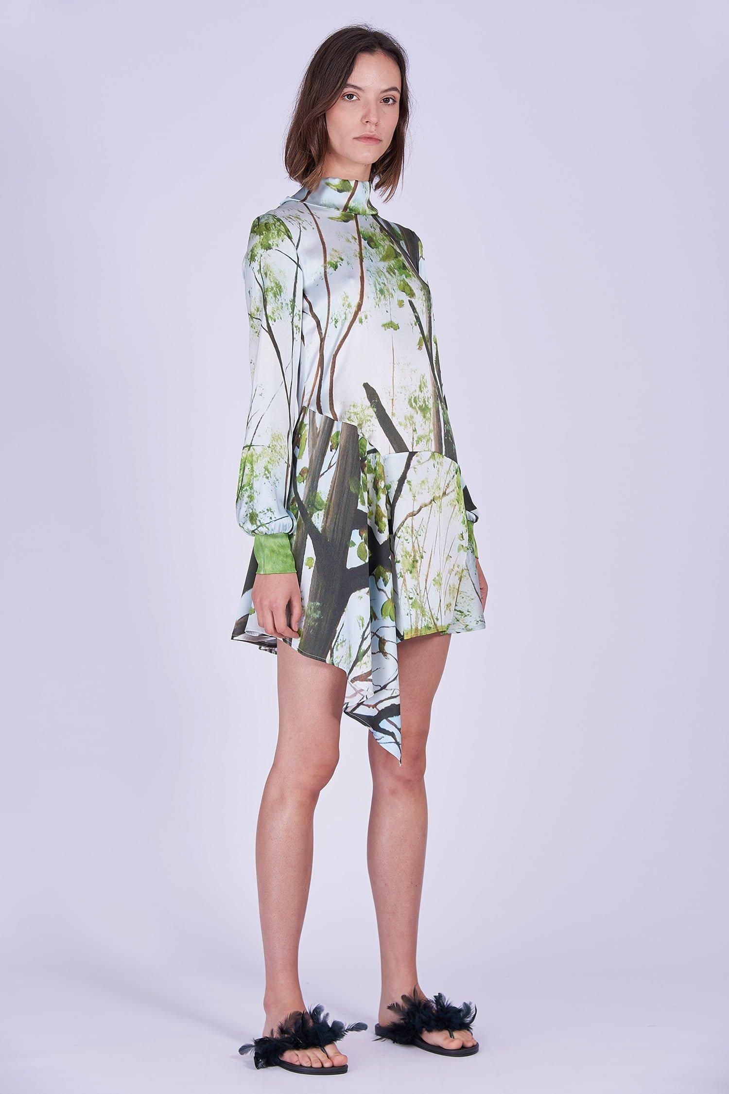 Acephala Ss2020 Printed Silk Longsleeve Dress Jedwabna Sukienka Print Rekaw Front Side