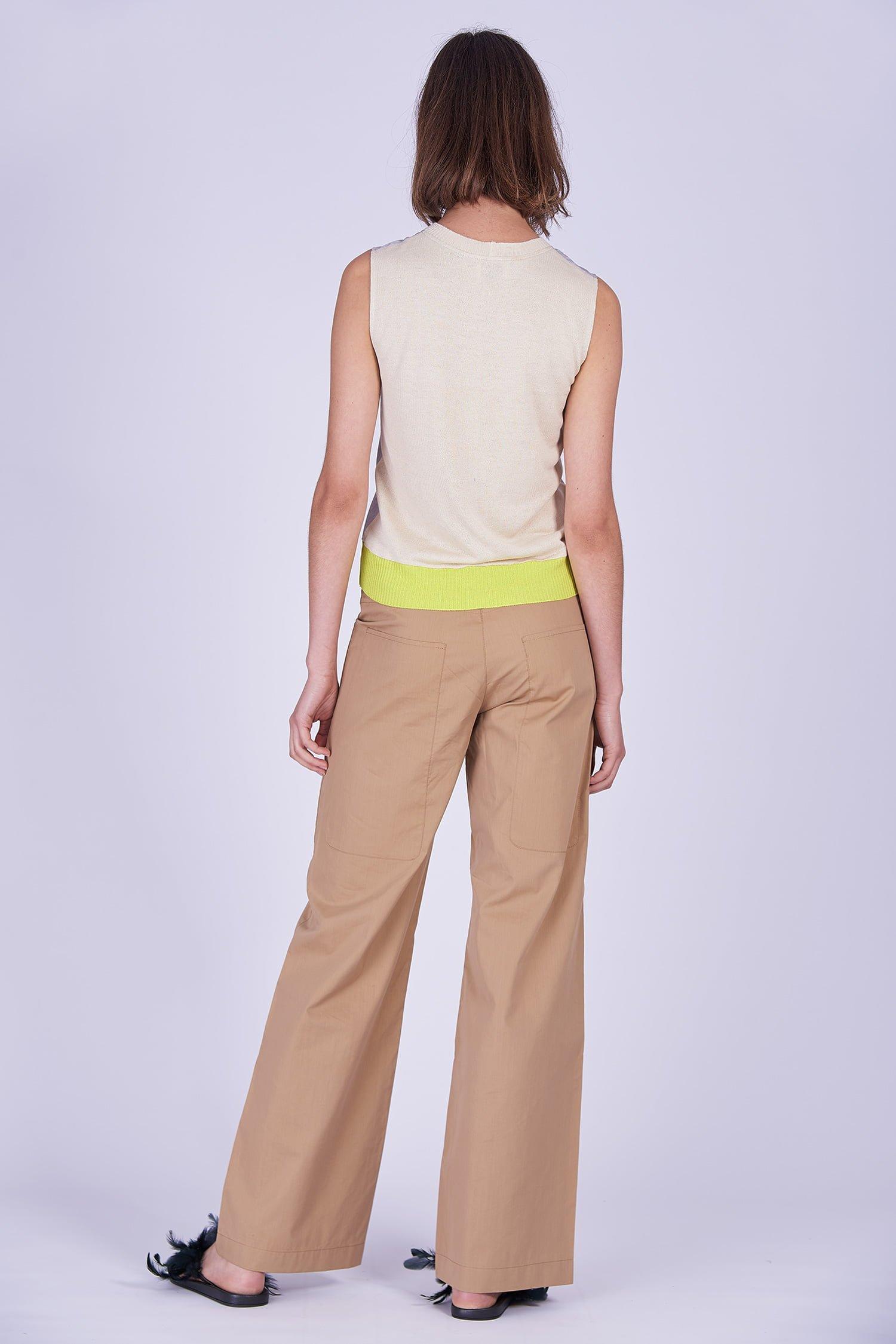 Acephala Ss2020 Silver Bustier Top Beige Cargo Trousers Srebrny Gorsetowy Bezowe Spodnie Back 2