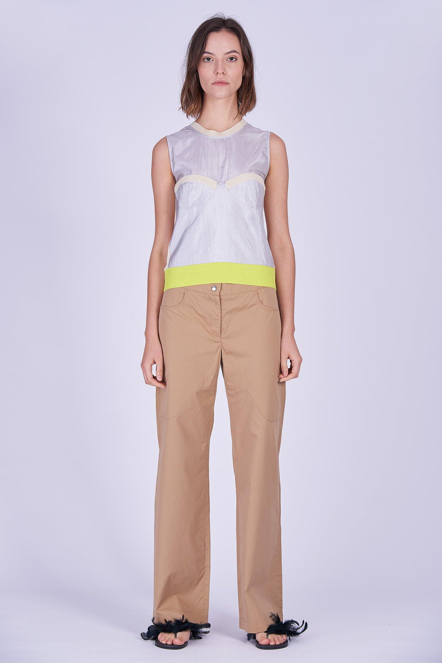 Acephala Ss2020 Silver Bustier Top Beige Cargo Trousers Srebrny Gorsetowy Bezowe Spodnie Front