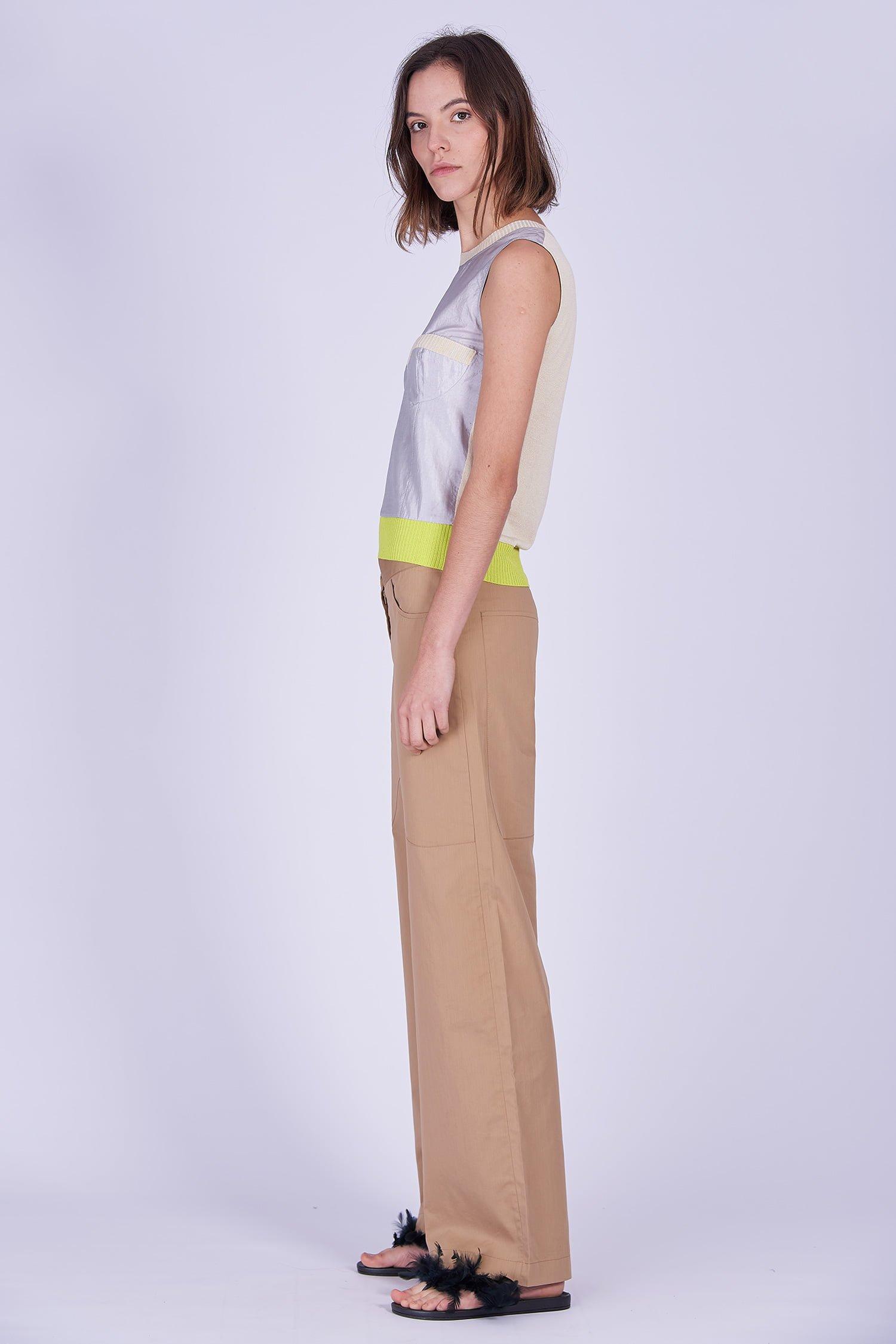 Acephala Ss2020 Silver Bustier Top Beige Cargo Trousers Srebrny Gorsetowy Bezowe Spodnie Side
