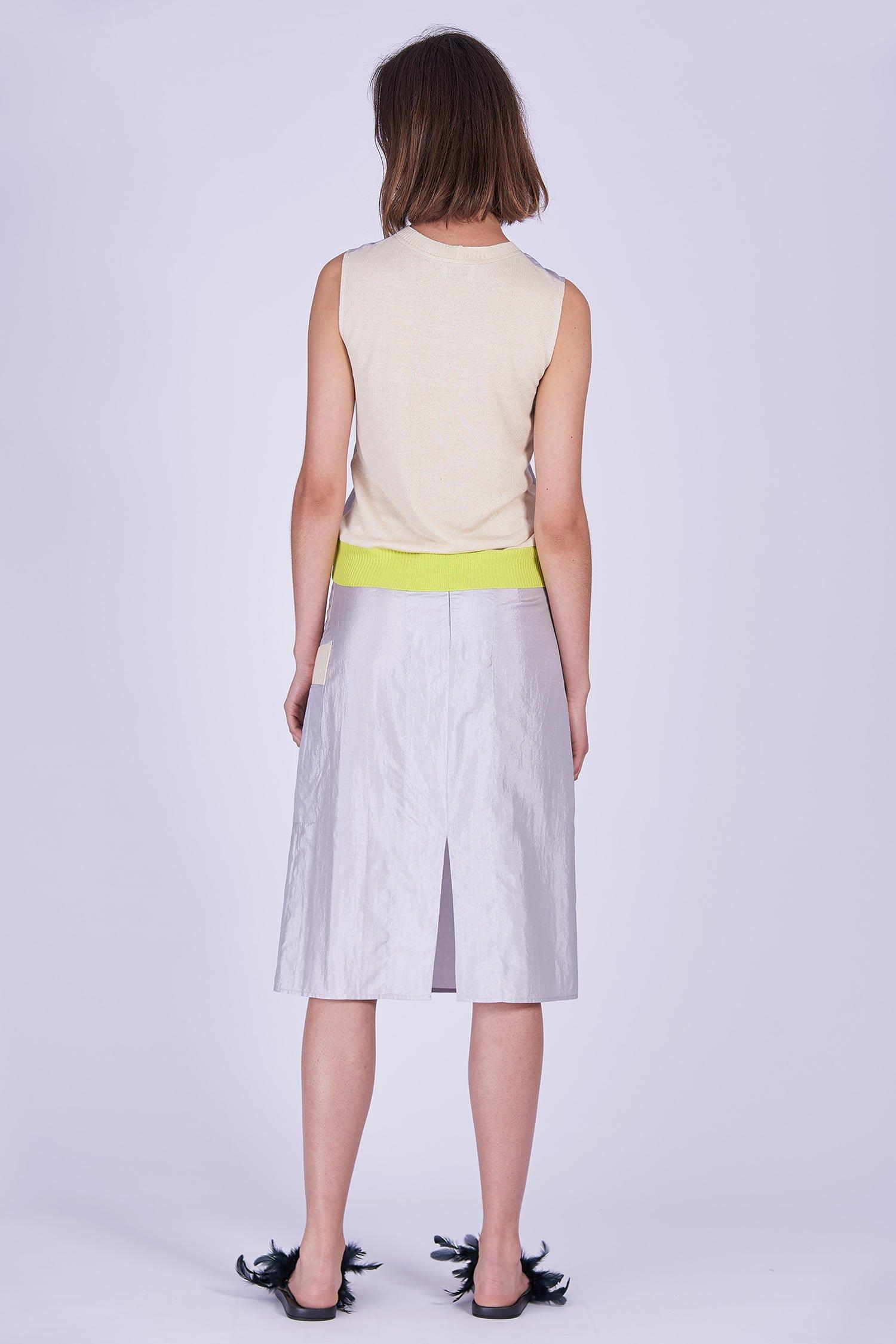 Acephala Ss2020 Silver Bustier Top Midi Skirt Srebrny Gorsetowy Srebrna Spodnica Back