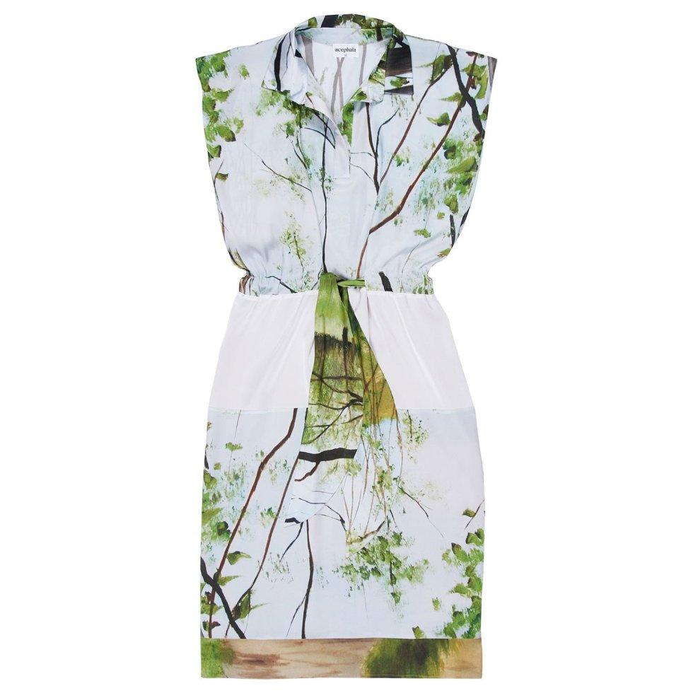 Acephala Ss20 Silk Print Forrest Dress Sukienka Jedwab Nadruk Las