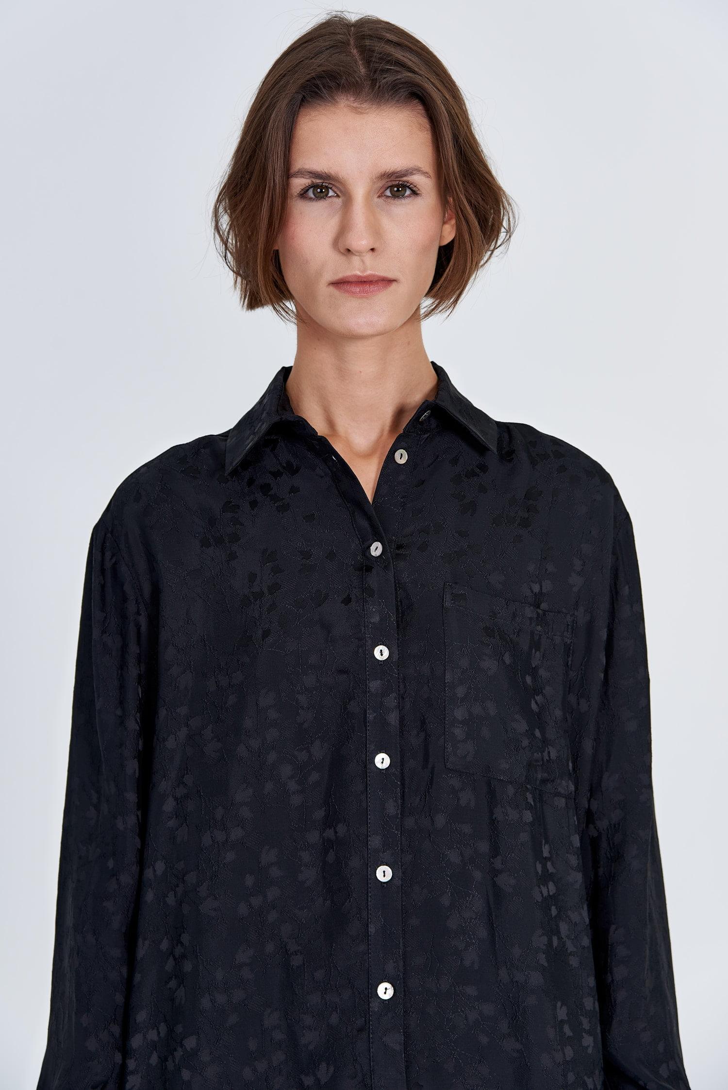 Acephala Fw 2020 21 Black Jacquard Shirt Jacquard Trousers Detail