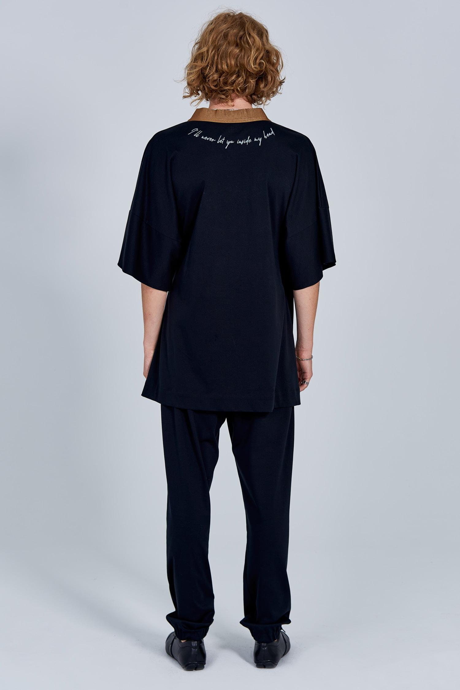 Acephala Fw 2020 21 Black Unisex Kimono With Embroidery Back Him