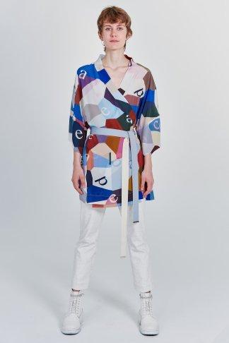 Acephala Fw 2020 21 Printed Silk Kimono Front