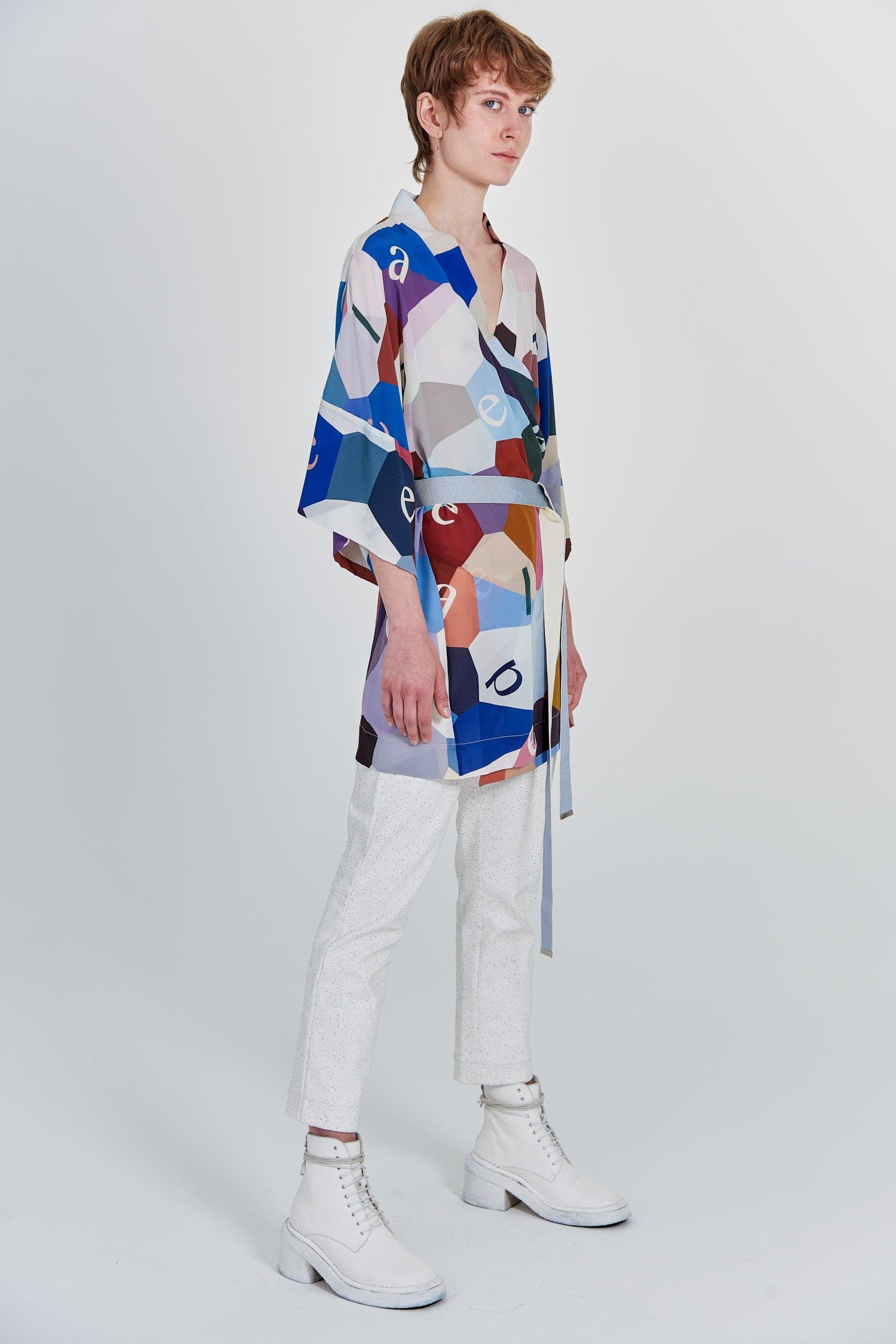Acephala Fw 2020 21 Printed Silk Kimono Side Right