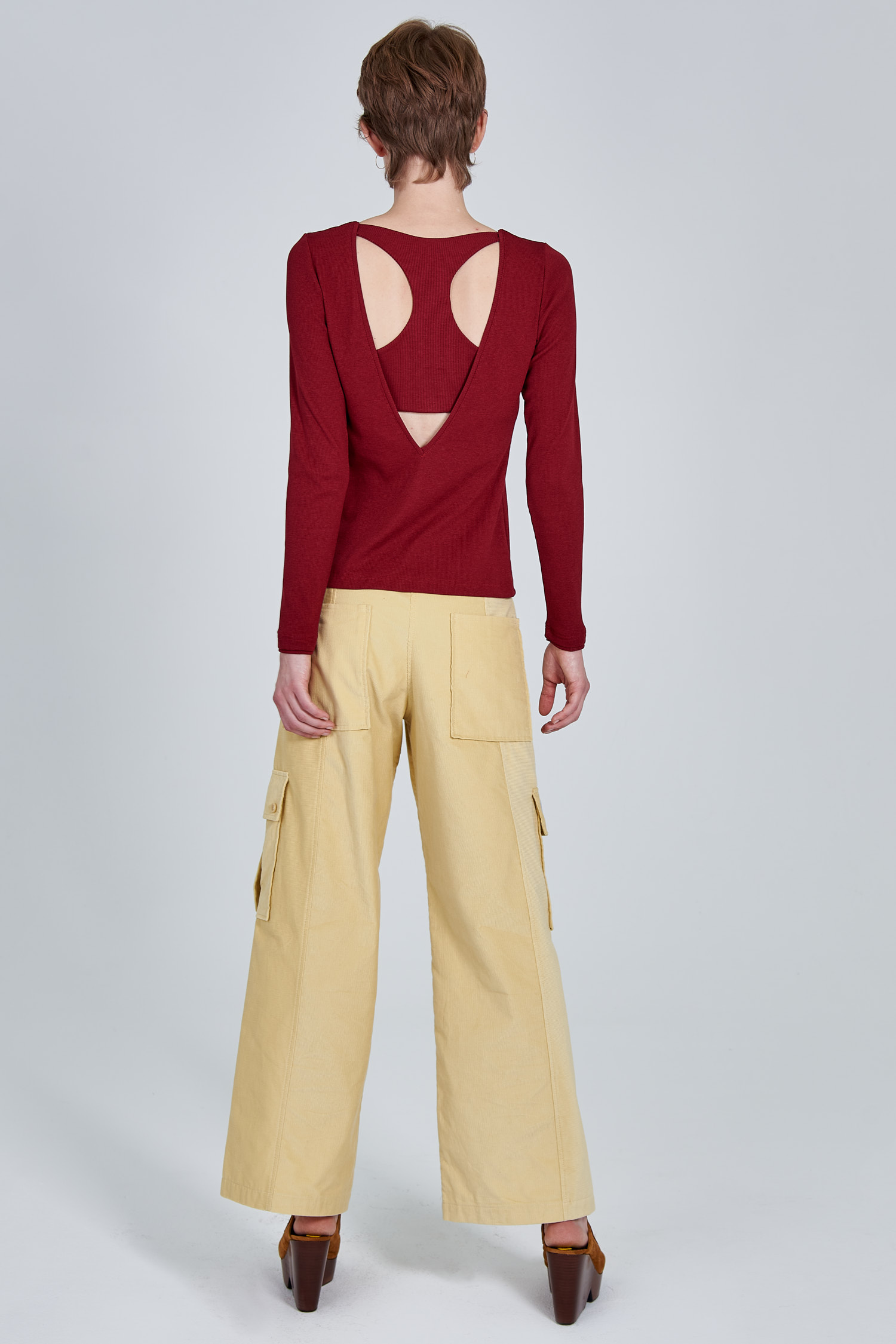 Acephala Fw 2020 21 Red Longsleeve Corduroy Trousers Female Back