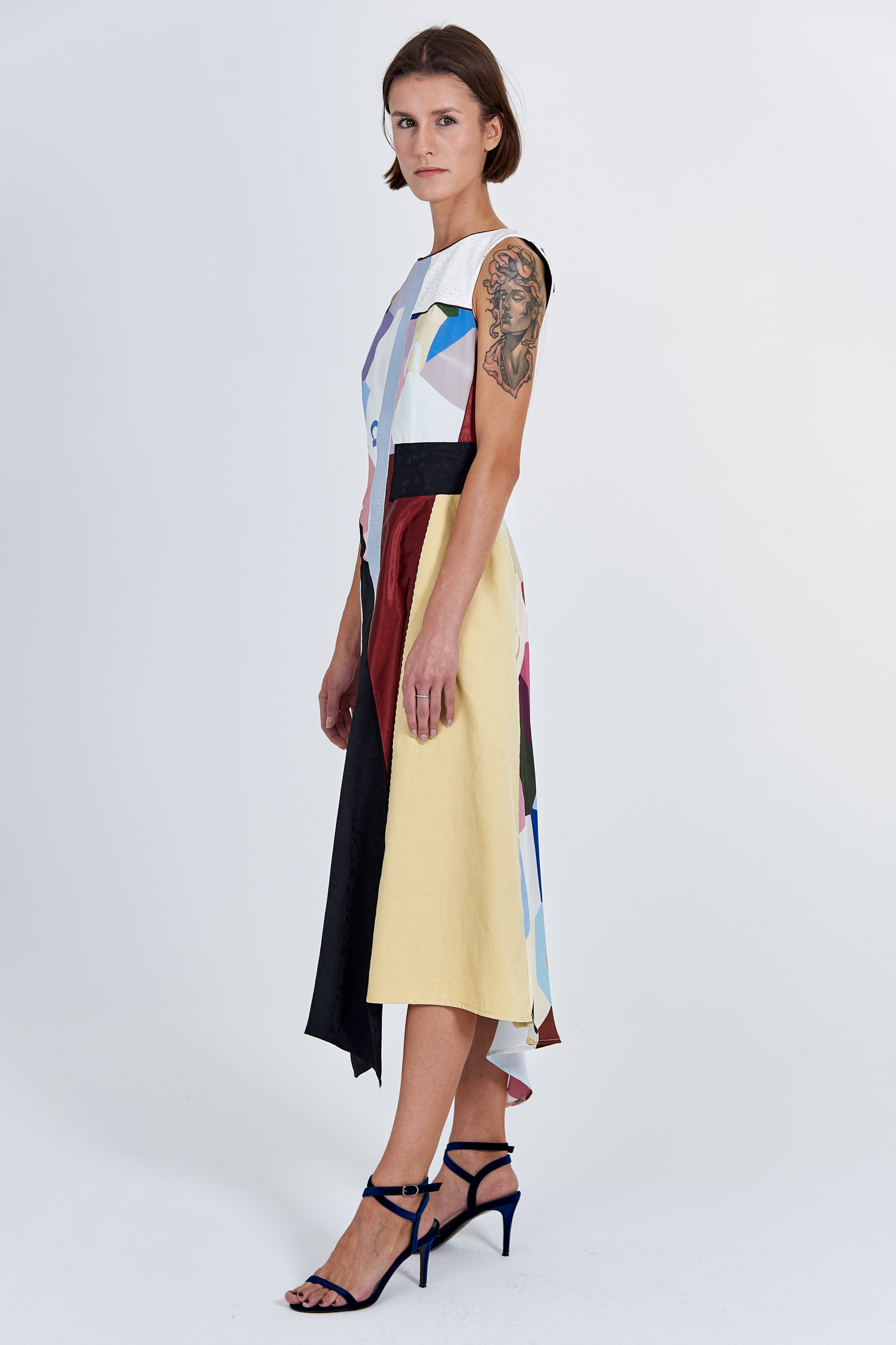 Acephala Fw 2020 21 Signature Patchwork Midi Evening Dress Side