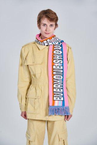 Acephala Fw 2020 21 Yellow Corduroy Trousers Jacket Pink Scarf