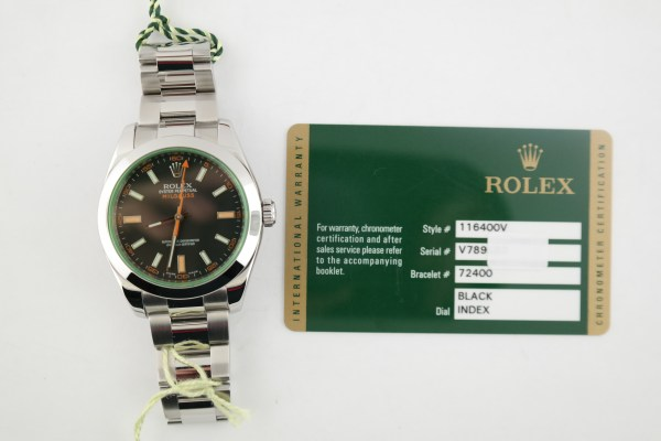 Rolex Milgauss 116400V Black Dial Green Crystal Oyster Band Year 2010