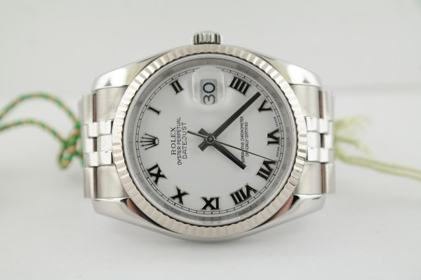 Men's Rolex Datejust 116234 White Roman Dial Stainless Steel Jubilee Band 2006