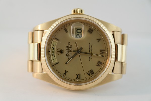 Rolex Day-Date 18038 18K Yellow Gold Champagne Roman Dial