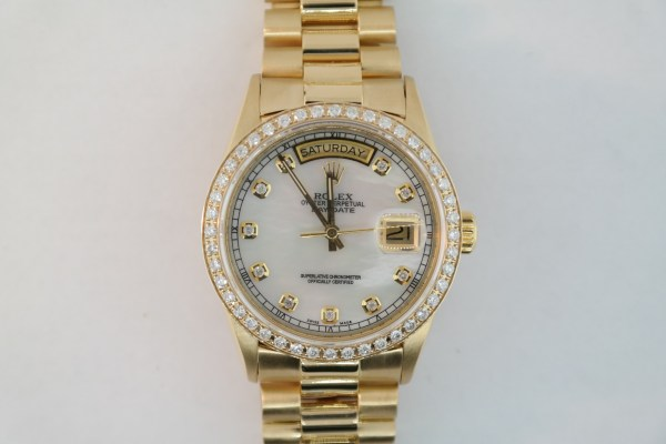 Men's Rolex Day-Date 18038 Mother of Pearl Diamond Dial & Diamond Bezel 1985
