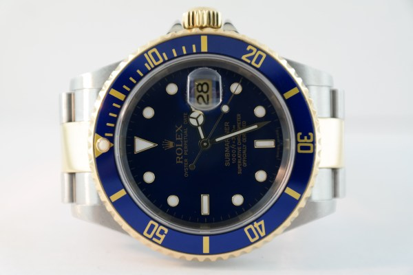 Men's Rolex Submariner 16613T Blue Dial & Bezel Two-Tone Oyster Band Year 2007