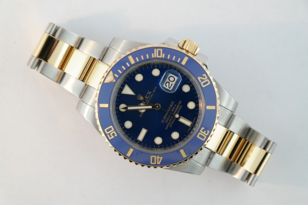 Rolex Submariner 116613LB Two Tone Blue Ceramic Bezel Blue Dial Oyster Band