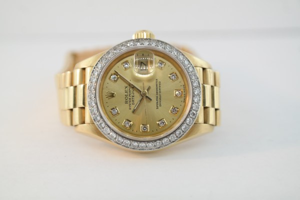 Ladies Rolex Datejust 69178 Champagne Diamond Dial President 18K Yellow Gold