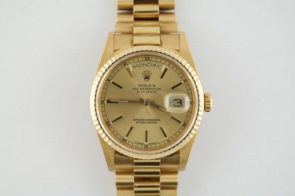 Men's Rolex Day-Date 18238 President Champagne Stick Dial MINT Circa 1989