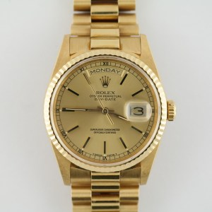 Men's Rolex Day-Date 18238 President Champagne Stick Dial MINT Circa 1989