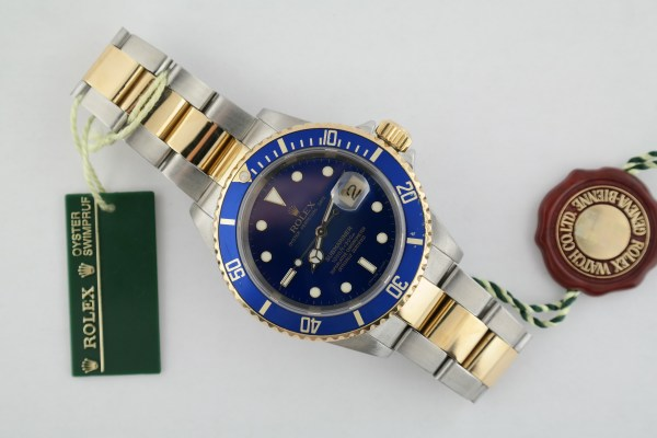 Men's Rolex Submariner 16613T Blue Dial & Bezel Two-Tone Box & Papers Year 2007