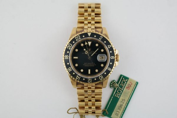 Vintage Rolex GMT Master II 16758 Black Dial Jubilee Band Box & Papers Year 1984