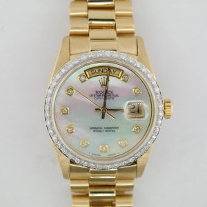 Rolex Day-Date 18038 Mother of Pearl Diamond Dial 18K President Diamond Bezel
