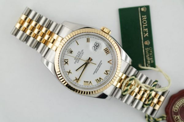 Rolex Datejust 116233 White Roman Dial Jubilee Band Two-Tone Year 2006