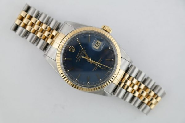 Rolex Datejust 16013 Blue Stick Dial Two-Tone Jubilee Band Circa 1986