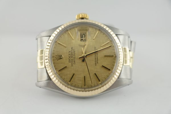 Rolex Datejust 16013 Champagne Linen Dial Jubilee Band Two-Tone Circa 1982