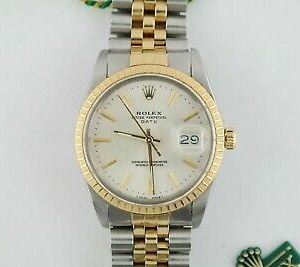 Rolex Date 15053 Silver Stick Dial Jubilee Band Engine Turned Bezel