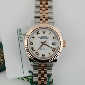 Rolex Lady-Datejust 279171 White Roman Dial Two-Tone Rose Gold Jubilee Band