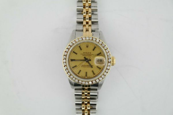 Ladies Rolex Datejust 69173 Champagne Dial Diamond Bezel Jubilee Band 26mm