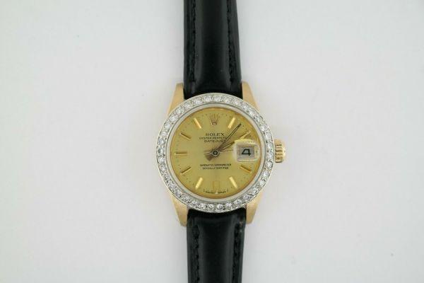 Ladies Rolex Datejust 6917 18K Yellow Gold Diamond Bezel Black Leather Strap