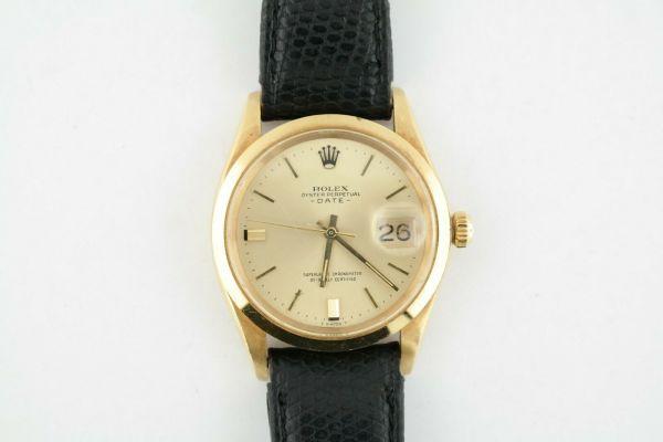 Vintage Rolex Date 1500 18K Yellow Gold Head Black Leather Strap