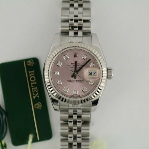 Ladies Rolex Datejust 179174 Pink Diamond Dial Jubilee Band 26mm Box & Papers
