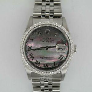 Rolex Datejust 16220 Black Mother of Pearl Dial Diamond Bezel Jubilee Band