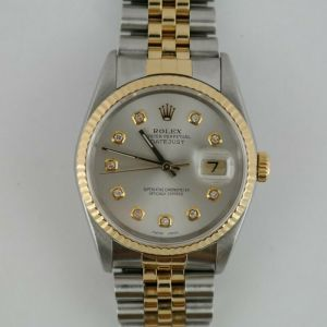 Rolex Datejust 16233 Two-Tone Silver Diamond Dial Jubilee Band Year 1990