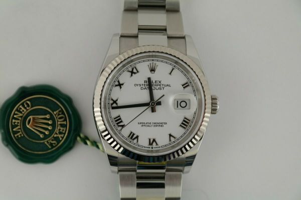 Rolex Datejust 36 126234 White Roman Dial Oyster Band Fluted Bezel