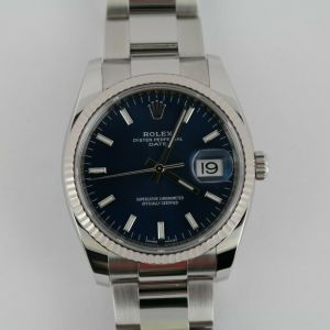 Rolex Date 115234 Blue Index Dial Oyster Band 34mm Stainless Steel