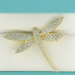 14K Dragonfly Brooch With Matching Pave Diamonds