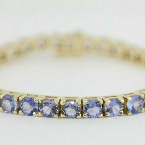 14K Yellow Gold & Tanzinite Tennis Bracelet