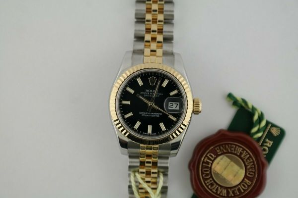 Ladies Rolex Datejust 179173 Black Dial Two-Tone Jubilee Band 26mm