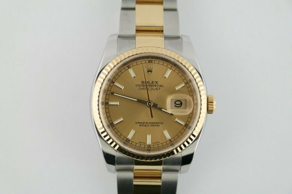 Rolex Datejust 116233 Champagne Index Dial Oyster Band Box & Papers Year