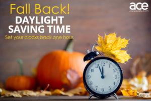 Daylight Savings: fall back with a clock and pumpkin