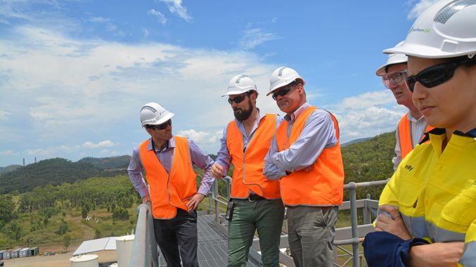 NEW INDUSTRY: Mercurius CEO Karl Seck visited Gladstone's Northern Oil in February when he visited the region to promote Mercurius' plans to build a biorefinery pilot project. He is pictured with Northern Oil's Ben Tabulo and Troy Collings.