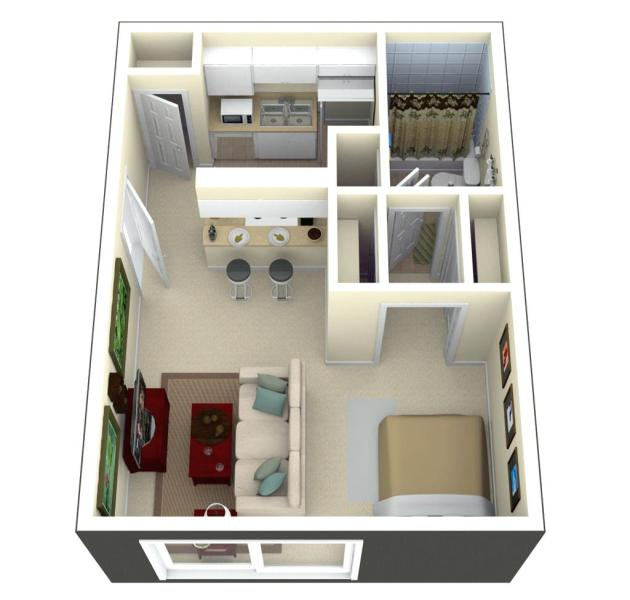 Tiny House Floor Plans And 3d Home Plan Under 300 Square Feet     Image credit laferida com