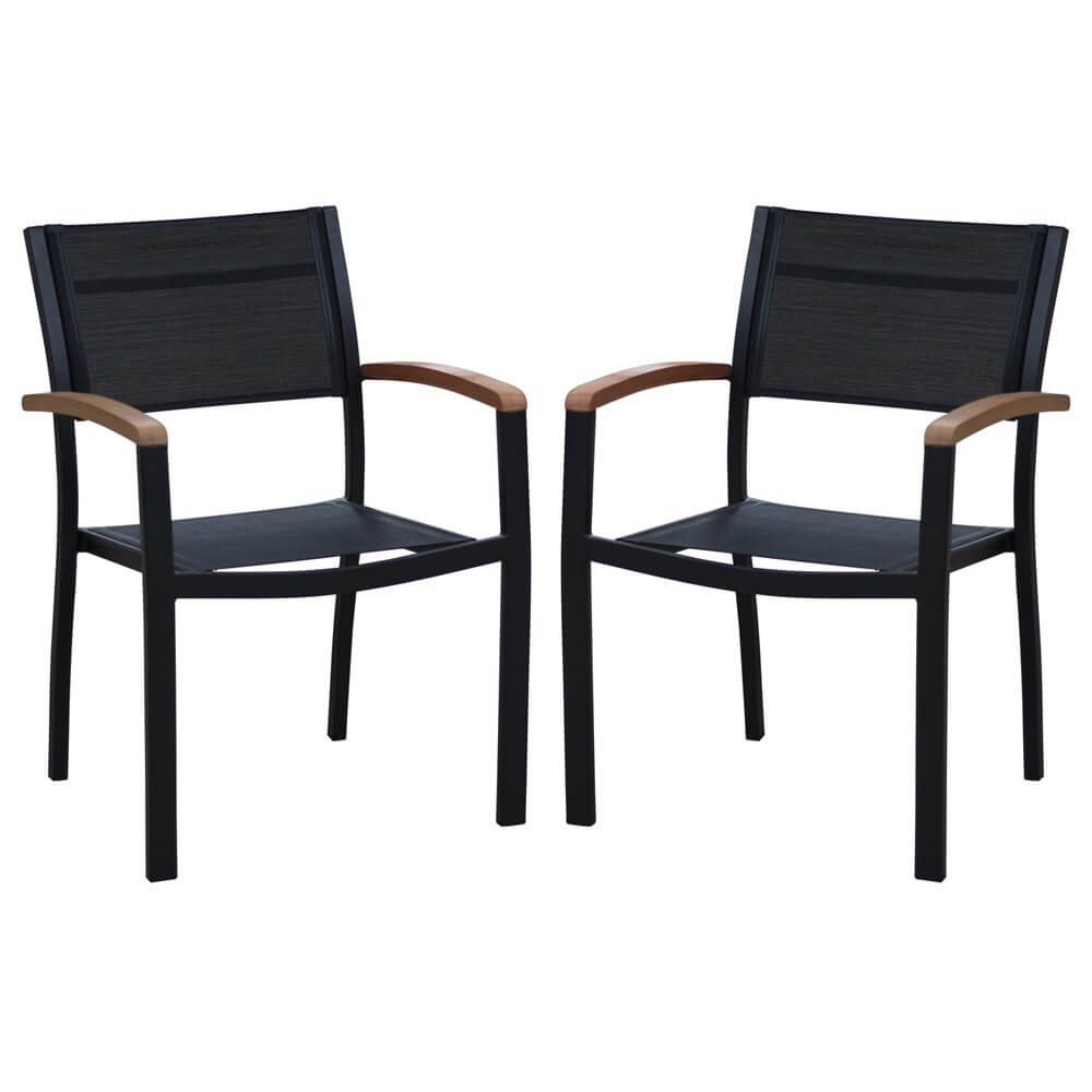 chaise de jardin en aluminium et bois noumea lot de 2